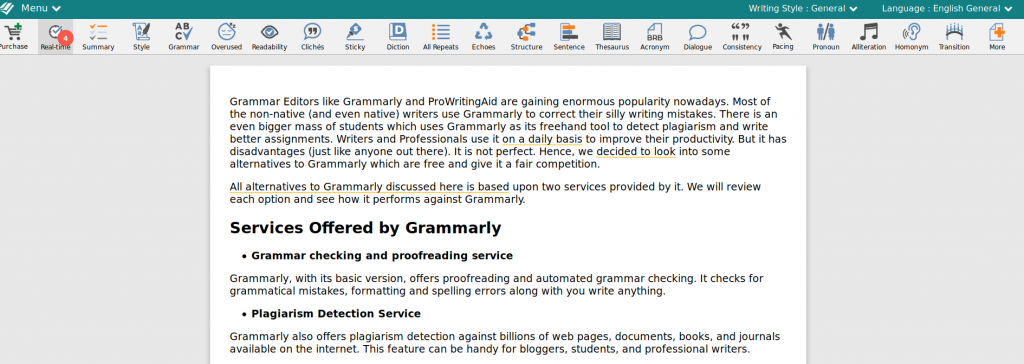 prowritingaid is an alternative to grammarly